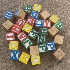 Wooden alphabet & numbers block colorful play set
